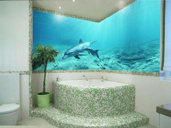 мозаика и плитка в интерьере ванной комнаты