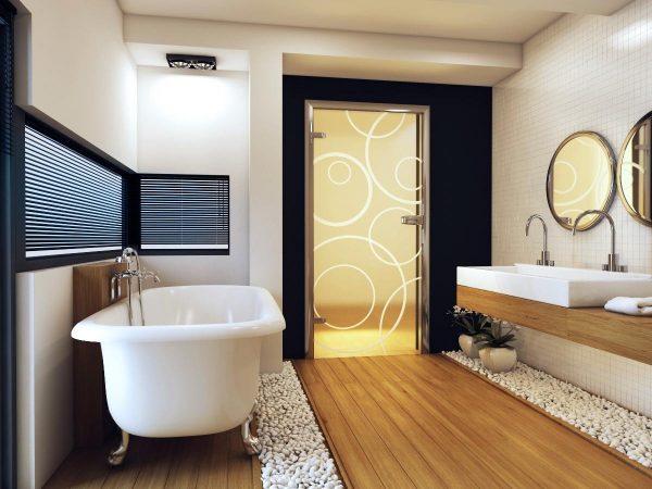 двери стеклянные в ванной комнате