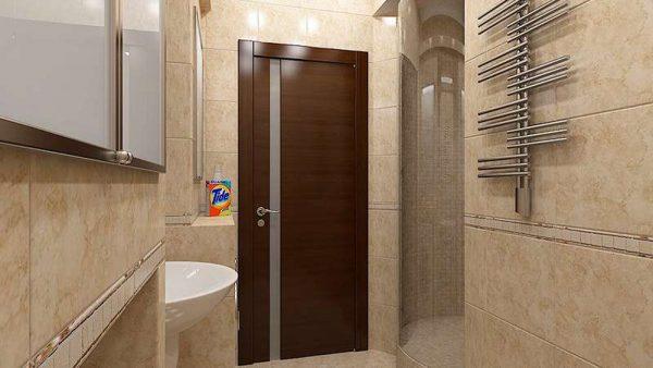 коричневые двери в интерьере ванной