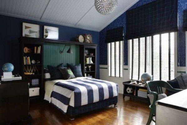 синий интерьер комнаты мальчика подростка