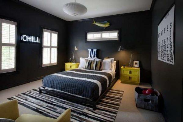 чёрный цвет в комнате мальчика подростка