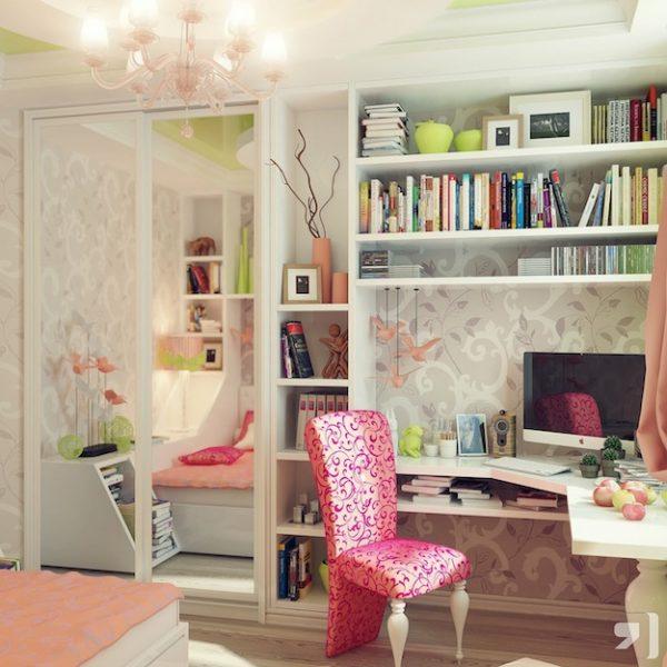 стол в интерьере комнаты девочки