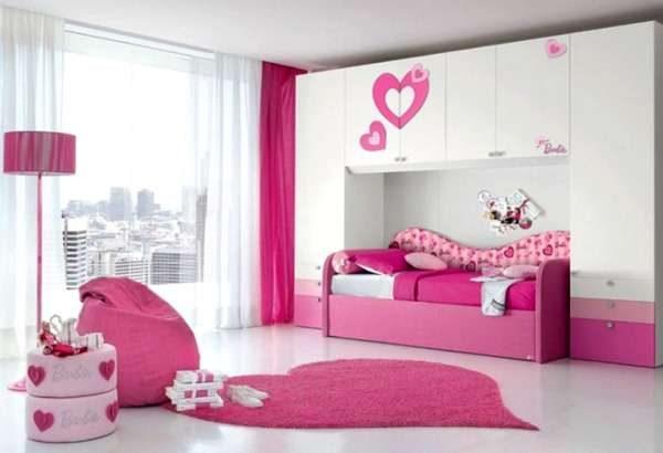 ковёр сердечко в интерьере детской комнаты девочки