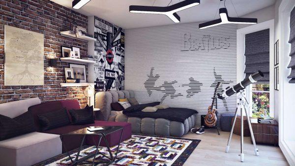 ковёр в интерьере комнаты подростка