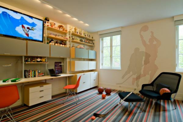 полосатый ковёр на всю детскую комнату