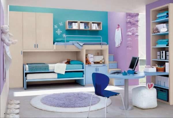круглый ковёр в интерьере детской комнаты