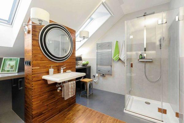 серый в интерьере ванной комнаты