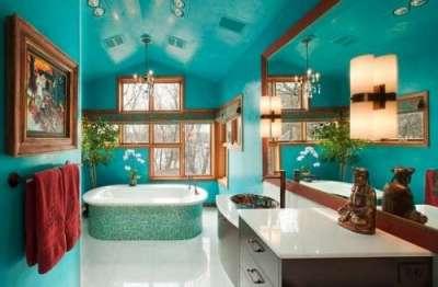 бирюзовый в интерьере ванной комнаты