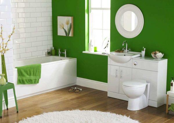 зелёная краска на стенах ванной комнаты