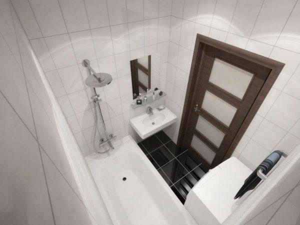 интерьер маленькой ванной комнаты в минималистическом стиле