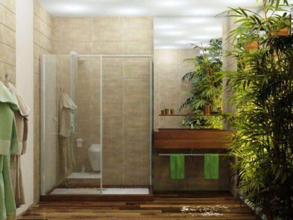 интерьер маленькой ванной в эко стиле