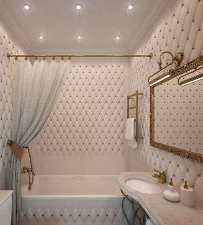 классический интерьер небольшой ванной комнаты