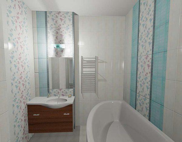 интерьер небольшой светлой ванной комнаты
