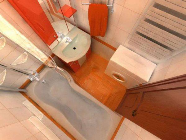 оранжевый в интерьере небольшой ванной комнаты