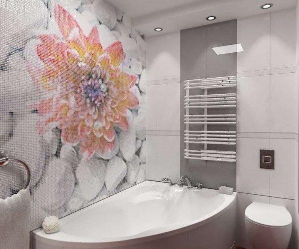 мозаика с цветами в ванной комнате