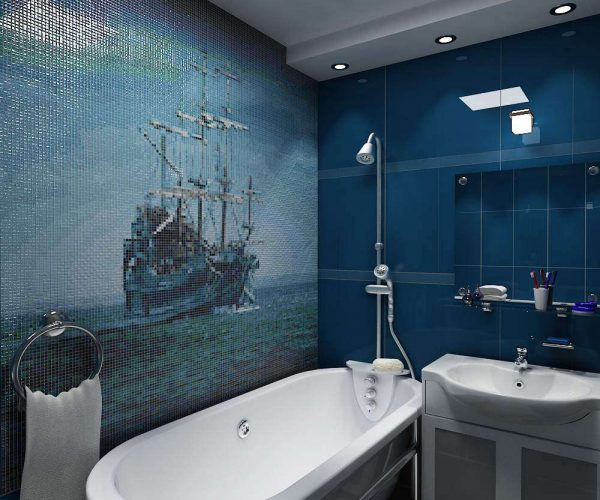 мозаика с картинами в ванной комнате