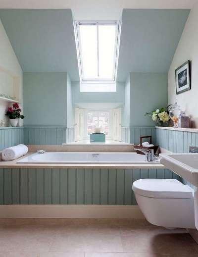 голубые панели пвх в интерьере ванной комнаты