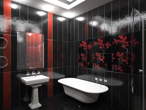 чёрные панели пвх в ванной