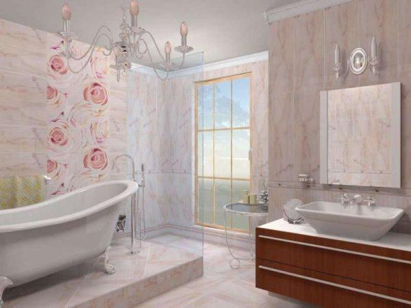 пластиковые панели с рисунком в ванной