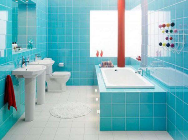 голубая плитка в ванной своими руками