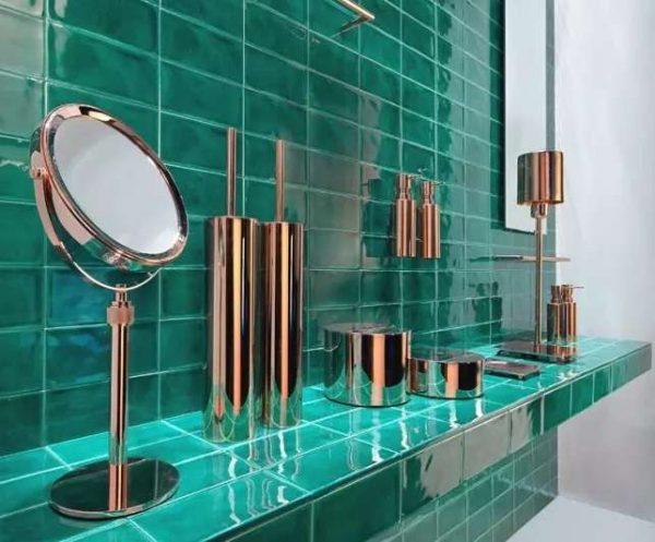 плитка в ванной изумрудного цвета