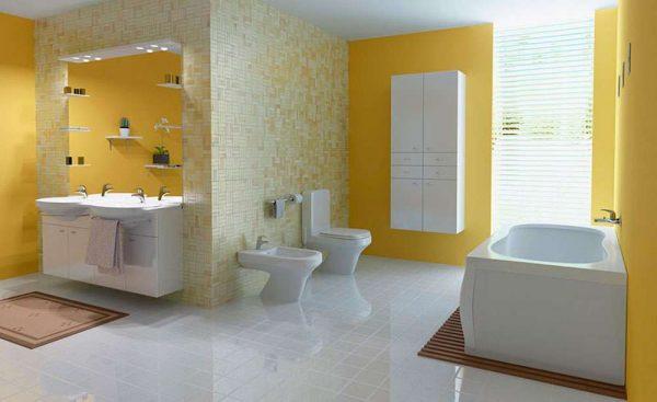 жёлтые стены в ванной