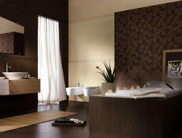 коричневый в интерьере ванной комнаты с плиткой