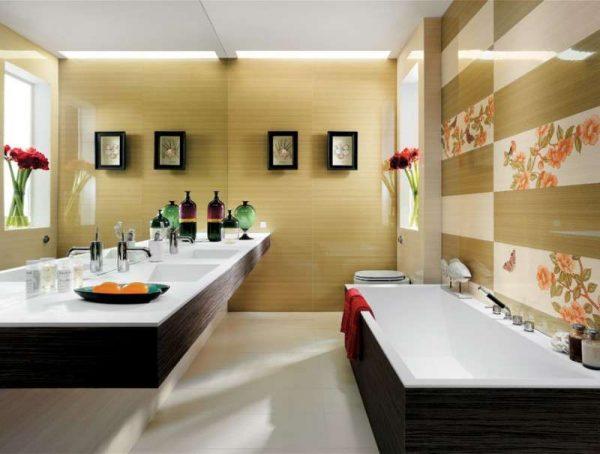 плитка прямоугольная в интерьере ванной