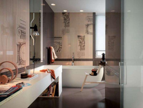 дизайн ванной комнаты с бежевым кафелем