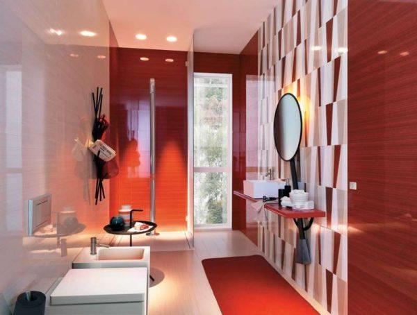 красный в интерьере ванной комнаты с плиткой