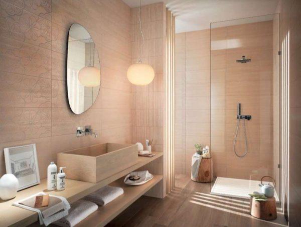 плитка с рисунком в интерьере ванной