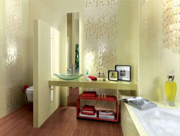 горизонтальная укладка плитки в интерьере ванной