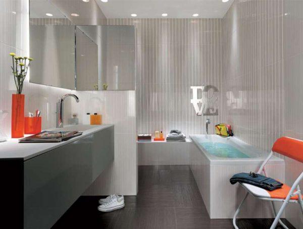 дизайн ванной с серым кафелем в интерьере