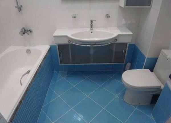 раскладка плитки по диагонали в ванной