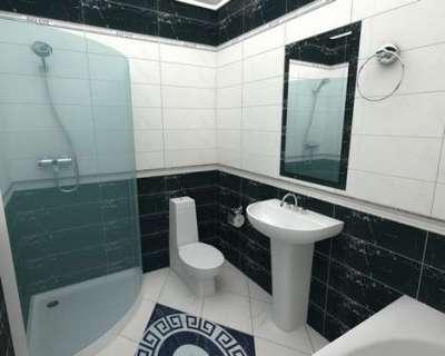 горизонтальная раскладка плитки в ванной