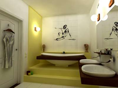прямая раскладка плитки в ванной