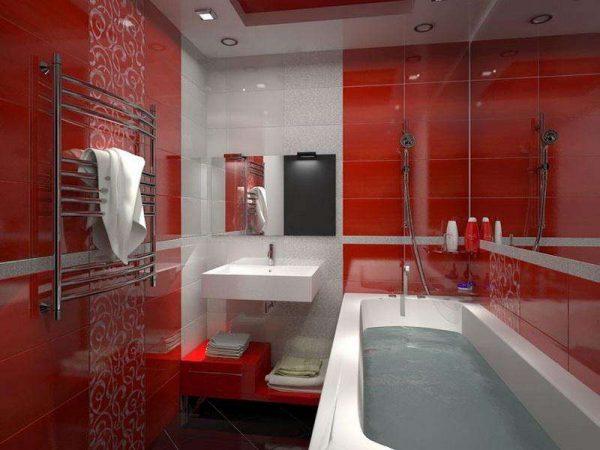 раскладка красной плитки в ванной комнате
