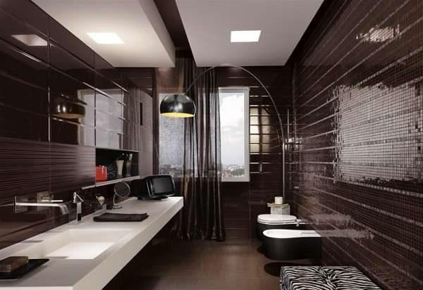 шоколадная плитка в ванной комнате