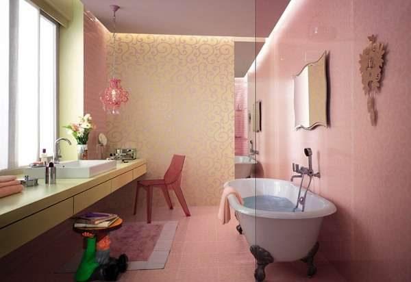 розовый в интерьере ванной комнаты