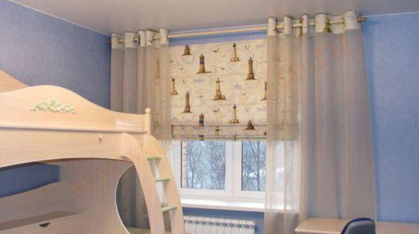 римские шторы и шторы на люверсах в детской