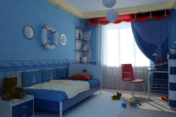 шторы в морском стиле в комнате мальчика