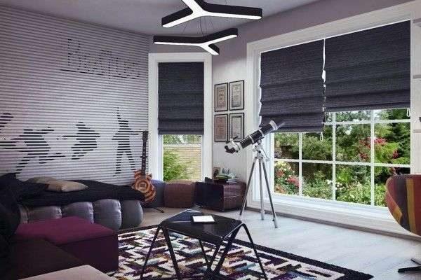 римские шторы жалюзи в интерьере комнаты мальчика