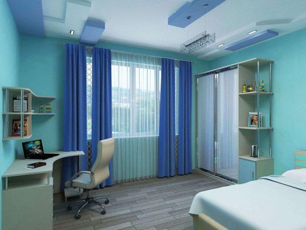 прямые и полупрозрачные шторы в интерьере комнаты мальчика