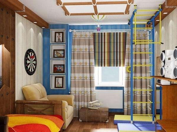 шторы из натуральных тканей в комнате мальчика