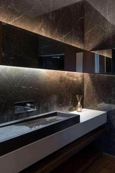 мраморная плитка в оформлении ванной