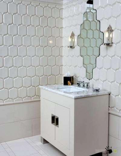 фигурная плитка в ванной комнате