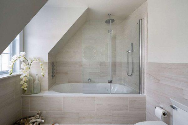 современный интерьер бежевой ванной комнаты