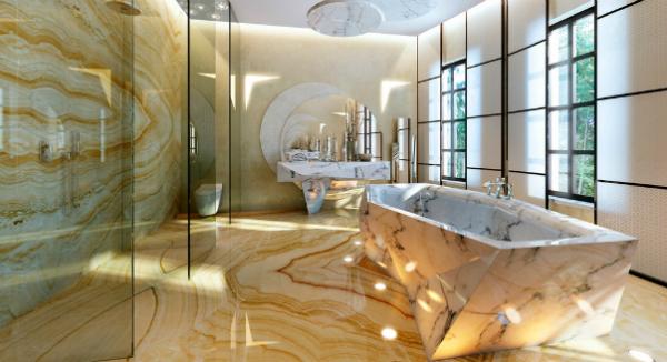 современный интерьер ванной комнаты с мрамором