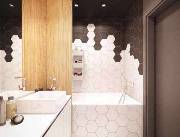 современная ванная комната с шестигранной плиткой