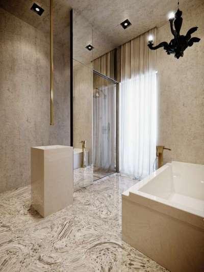 интерьер ванной комнаты с плиткой на полу и стенах